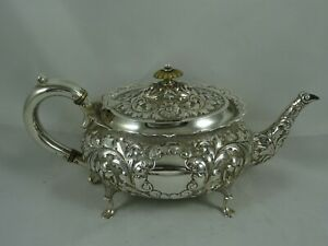 STUNNING  VICTORIAN solid silver TEA POT, 1897, 428gm