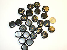 Green Goldstone Engraved Rune Stone Set, with Runic Symbols Chart and Cloth Bag