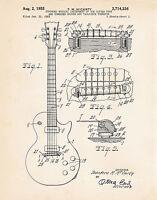 1955 Gibson Les Paul Guitar Gift Vintage Art Patent Print Poster Artwork McCarty