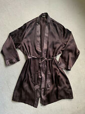 M & S Chocolate Brown Silk Robe Dressing Gown Lingerie Dot Belt Lining Kimono M