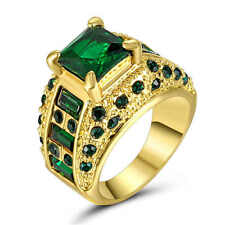 Fashion Size 7 Green Emerald CZ  Women's 18Kt Yellow Gold Filled Wedding Ring