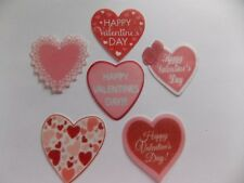 12 PRECUT edible wafer/rice paper Valentine Hearts cake/cupcake toppers