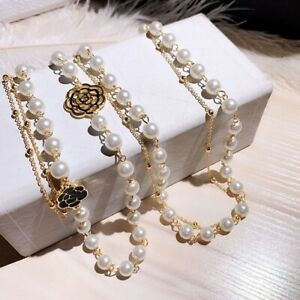 Luxury Hollow Camellia Pearl Pendant Flower Sweater Chain Necklace for Women