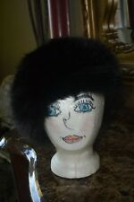 Genuine Real Fox Fur Black Winter Hat S/M Vintage Made in the USA EUC