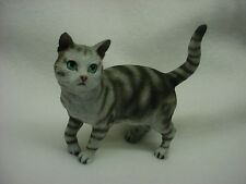 SILVER GRAY STRIPE CAT Figurine kitty kitten HAND PAINTED COLLECTIBLE Statue NEW