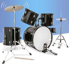 Dakavia 5PCS Complete Adult Drum Set Cymbals Full Size Kit w/ Stool&Sticks Black