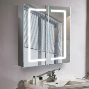 LED Lighted Mirrored Cabinet Bathroom Mirrors With Sensor Switch Wall Mounted