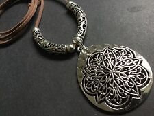 Long Suede Necklace With A Very Large Statement Ethnic Tibetan Pendant Boho