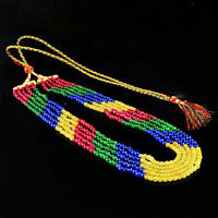 373.00 CTS EARTH MINED 5 STRAND RUBY, EMERALD & SAPPHIRE ROUND BEADS NECKLACE