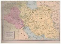 1942 Map of Iran and Iraq - Map of India and Ceylon On Reverse
