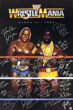 WWE WrestleMania Hulk Hogan, Piper, Hart, Bruno, Autographed Poster ASI Proof