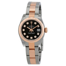 Rolex Datejust Black Dial Diamond Steel and 18K Everose Gold Ladies Watch