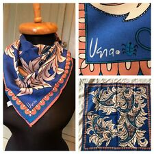 Vintage Vera Neumann Made in Japan Silky Polyester Paisley Scarf 20.5 x 20.5""