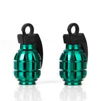 Paire Bouchons de Valve de Pneu Vélo Anti-poussières Forme Grenade Vert