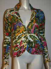HWR Floral Cardigan Sweater XS Anthropologie Cotton LS Blue Pink Green