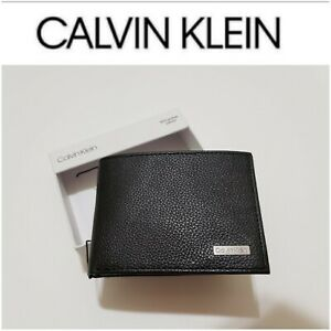 RFID Calvin Klein Men's Black Geniune Leather Billfold Wallet MRSP $45!