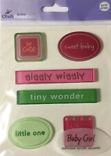 BABY GIRL ACRYLIC ACCENT Stickers(6pc)JoAnn•Sweet•Tiny Wonder•Pink•So Cute•Love•