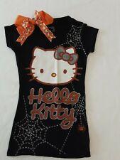 Hello Kitty Glittery Black & Orange Halloween Shirt W/Spider Webs Size Jr Xs (1)