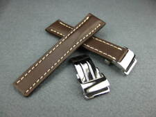 Set Brown Watch Band Navitimer 22 22mm Deployment Calf Leather Strap Buckle
