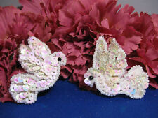CHRISTMAS DOVE PAIR SEQUIN BEADED APPLIQUE 2351-K