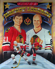 Bobby Hull & Stan Mikita -  Black Hawks, 8x10 Color Lithograph
