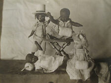 ANTIQUE AMERICAN DOLL COLLECTION ARTISTIC AFRICAN AMERICAN INTERRACIAL  PHOTO