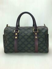 Auth CELINE Macadam Boston Bag Handbag Canvas Bordeaux used from Japan