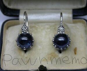 ANTIQUE ART DECO PLATINUM 7CT BLUE SAPPHIRE DIAMOND EARRINGS