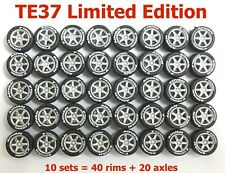 1/64 tires TE37 rims Limited Edition fit Hot Wheels cars -10 sets -R005L-10