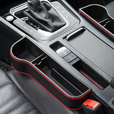 Black PU Leather Car Seat Gap Slit Storage Box Tidy Organizer Phone/ Key Holder