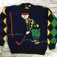 Vintage Argyle Golfers Sweater Mens Small Jumper Bold Colorful