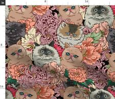 New listing Cat Flower Arctic Animals Spoonflower Fabric by the Yard