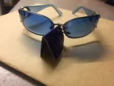 Unisex Sunglasses with blue oval lens and metal plastic frame