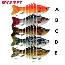 5PCS/SET Multi Jointed Fishing Plastic Treble Hook Hard Bait Swimbait Crankbait