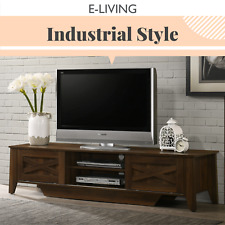 TV Stand Entertainment Unit 180cm Industrial Style Cabinet - Sliding Dark Wood