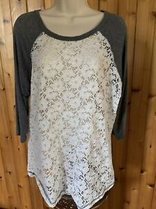 Maurices heather gray white lace crochet eyelet pullover tshirt 3/4 length XL