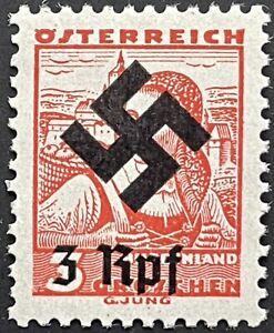 ÖSTERREICH 1938 tadellose, postfrische (MNH) 3 Rpf.  auf 3 G, die Mi.Nr. B III