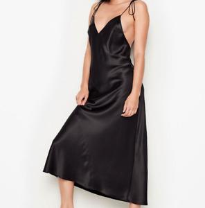 Victorias Secret Satin Sleep Midi Slip Dress Nightgown Pajama Large Black