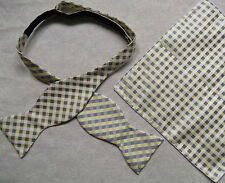 NEW MENS SELF TIE DICKIE BOW GREY PALE YELLOW CHECKED BOWTIE & TOP POCKET HANKIE