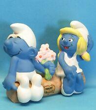 KERAMIK Schlumpf VERLIEBTER SCHLUMPFINE smurf ceramic collectabiles W.Berrie1982