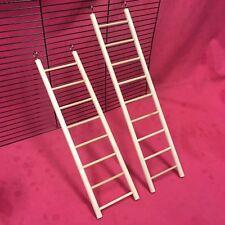 """2 x Wooden Ladder 12 & 14"""" Hamster Rat Mouse Gerbil Ferret Gerbil Natural Wood"""