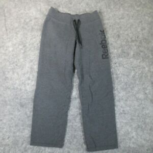 Reebok Pants Small Gray Warm Up Sweat Pants Athletic Ladies Spell Out Logo EUC