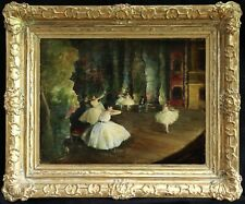 19th CENTURY LARGE FRENCH IMPRESSIONIST OIL - BALLET DANCERS - DEGAS SIGNED