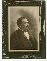 Antique Matted Photo - Man W/Moustache - SEAVER Family - Moustache, Jacket, Fob