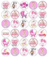 30 BABY SHOWER GIRL Cupcake Edible Wafer Paper Cake Decoration Topper #1