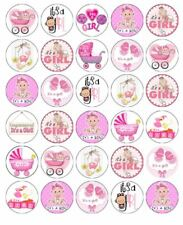 30 BABY SHOWER GIRL Edible Cupcake Toppers Wafer Paper Cake Party Decoration #1