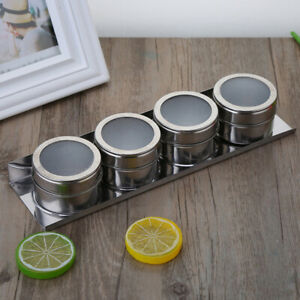 1PC Outdoor Spice Storage Container Jar Stainless Steel Tins With Clear Lid*
