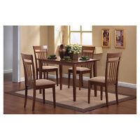 5 Piece Walnut Finish Dining Room Set Slat Back Chairs Home Furniture Kitchen
