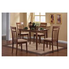 5 Piece Walnut Finish Dining Room Set Slat Back Chairs Home Furniture Kitchen