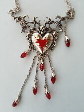 HEART & SKULL NECKLACE WITH CRYSTAL DROPLETS GOTHIC STEAM PUNK ROCK CHICK GIFT